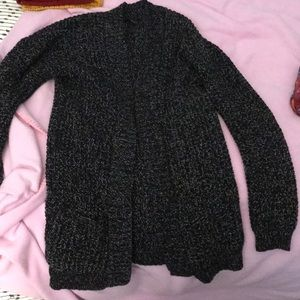 Black and white feathered cardigan